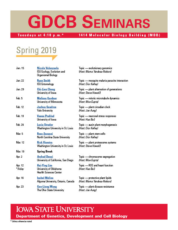 GDCB Spring 2019 Seminar Schedule