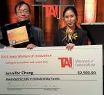 Jennifer Chang and scholarship check